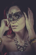 Mysterious Boudoir, sensual masked woman, venetian mask, brunett
