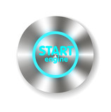 Start Engine button on Carbon fiber background. Vector realistic