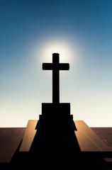 Tomb with cross on Montjuic Cemetery