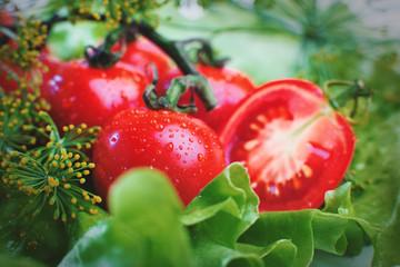 fresh tomatoes close-up