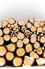 Fireplace logs. Winter