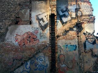 Wall with graffiti in Riga