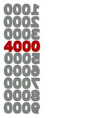 kırmızı renkli 4000 sayısı