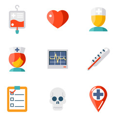 Isolated icons set Medical