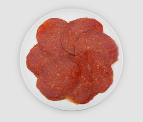sliced sausage on a plate