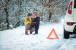 Leinwanddruck Bild - woman with a child on the winter road