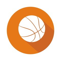 Icono balón baloncesto naranja botón sombra