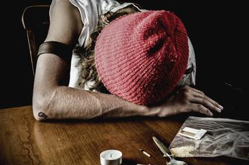 dramatic shot, teen heroin user - after shooting up