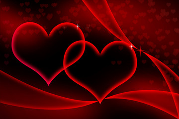 Glowing Red Hearts