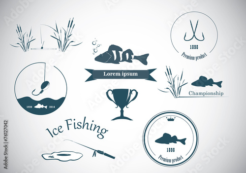 Fishing labels  and design elements - 76127042