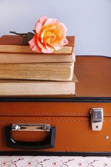 Vintage suitcase with pile