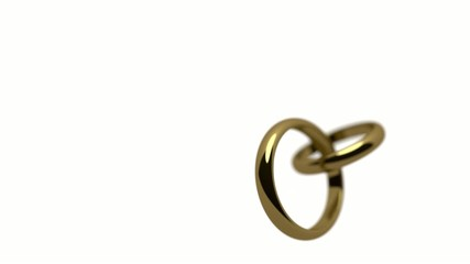 Wedding rings rotating on white background + alpha matte