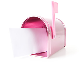 Valentine's: Pink Mailbox with Letter Inside