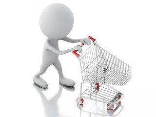 3d white people with shopping cart isolated on white background