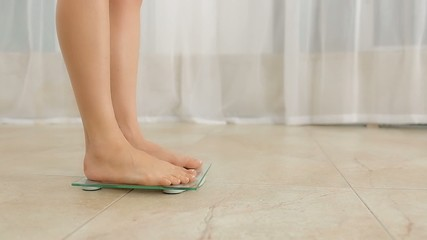 Female Standing on Weight Scale