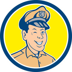 Policeman Winking Smiling Circle Cartoon