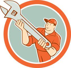 Mechanic Presenting Spanner Wrench Circle Cartoon