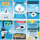 Restaurant Placard Template Set - Vector Illustration