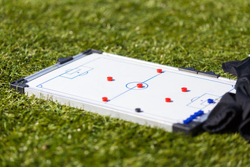 Soccer football strategy planning board. tactic training session