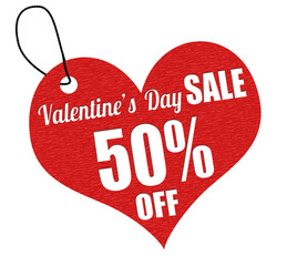 Valentines sale 50 percent off label or price tag