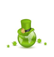 Hat and shamrocks around Globe on St. Patrick's Day