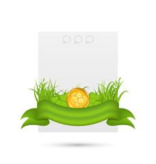 Natural card with coin, shamrocks, grass, ribbon - for St. Patri
