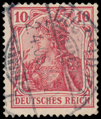 Stamp printed in Germany shows Germania