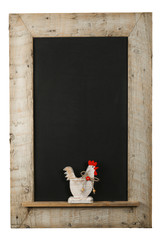 Vintage Easter Chicken Roosters Chalkboard Reclaimed Wood Frame