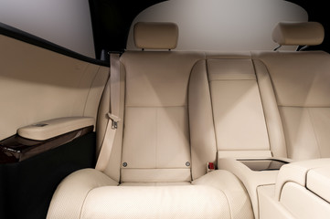 Rear leather seats. Business car interior.