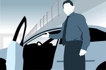 silhouette car salesman