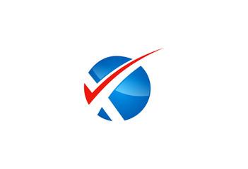 X letter round checklist logo