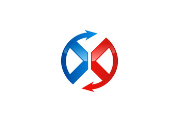 X symbol arrow circle vector logo