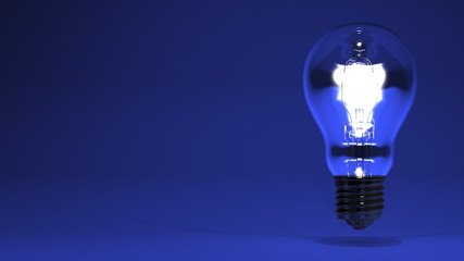 Electric Bulb On Blue Text Space