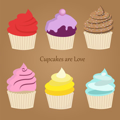Set of six cute colorful stylized cupcakes