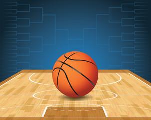 Basketball Court and Ball Tournament Illustration