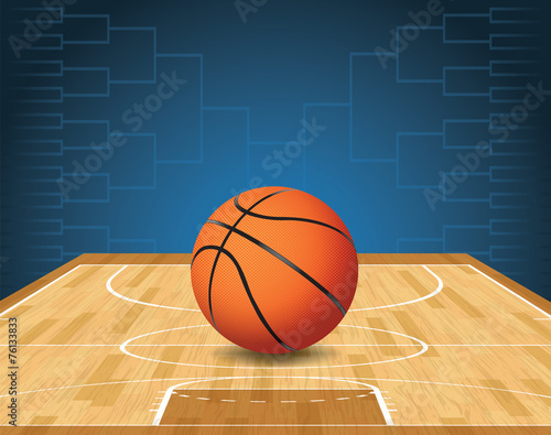 Basketball Court and Ball Tournament Illustration - 76133833