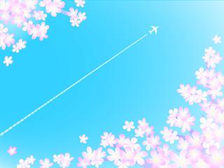 さくら背景 飛行機雲