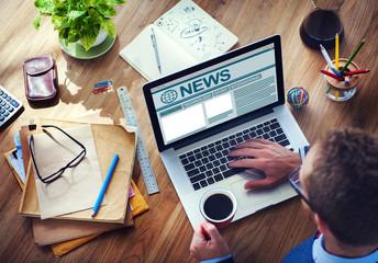 Working Computer Internet Journalism Global Media Concept