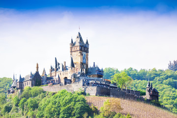 Cochem Imperial Castle on the top of a hill