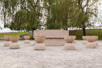 Table of silence, Constantin Brancusi artwork, Romania, Tg Jiu