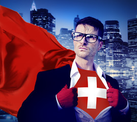 Businessman Superhero Country Switzerland Flag Culture Concept