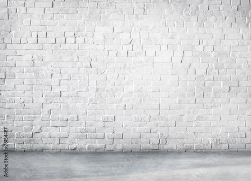 Clean Cement Built Structure White Background Copy Space - 76134487
