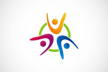 happy group people logo