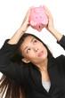 Empty piggy bank - money debt and bankruptcy