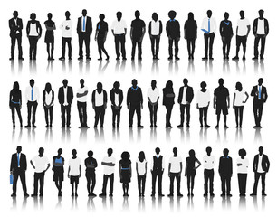 Silhouette Group People Standing Togetherness Concept