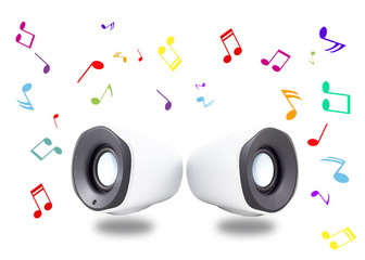 White speakers and colorful notes on white background