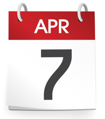 Vector Of A Calender Of The Date April 7th