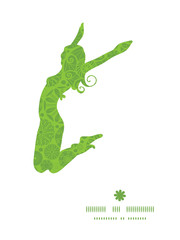 Vector abstract green and white circles jumping girl silhouette