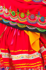 Traditional folk costume from Ecuador, indigenuous woman