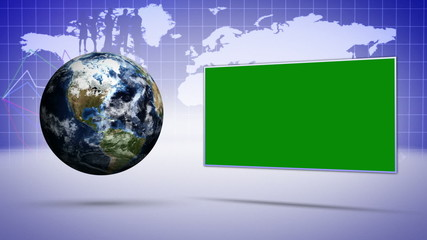 Earth and Business Concept, with Green Screen Monitor